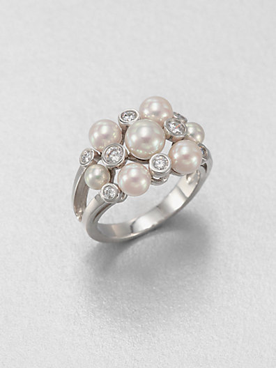 Majorica 3MM, 5MM and 6MM Pearl and Sterling Silver Ring
