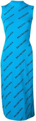 Balenciaga allover logo wrap dress