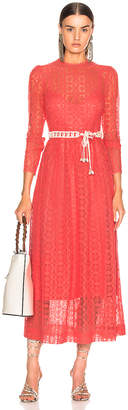 Zimmermann Allia High Neck Lace Dress in Coral | FWRD