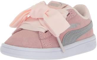 Puma Girls' Smash v2 Ribbon Velcro Sneaker, Pearl Silver