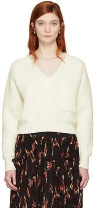 Chloé White Pocket V-Neck Sweater