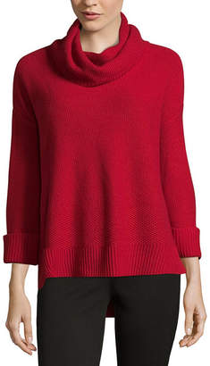 Liz Claiborne Long Sleeve Cowl Neck Pullover Sweater - Tall