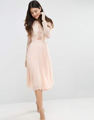 ASOS WEDDING Pretty Lace Eyelash Pleated Midi Dress $122 thestylecure.com
