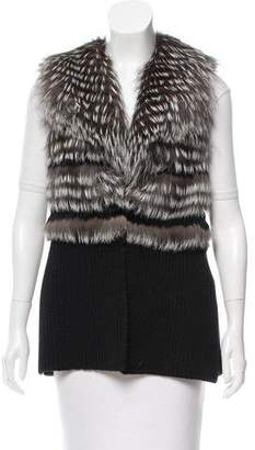 Ramy Brook Leather-Trimmed Fur-Paneled Vest