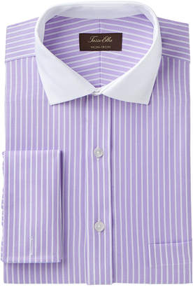 Tasso Elba Men Classic/Regular Fit Non-Iron Twill Bar Stripe French Cuff Dress Shirt