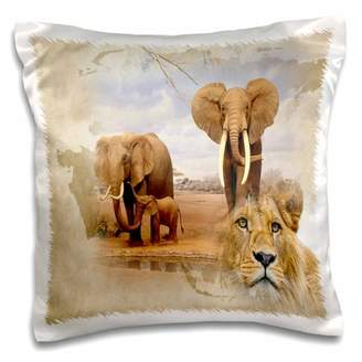 Out of Africa 3dRose map background and Elephant herd and Lions - Pillow Case, 16 by 16-inch