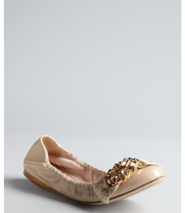 Miu Miu nude patent leather jewel and bow embellished toe ballet flats