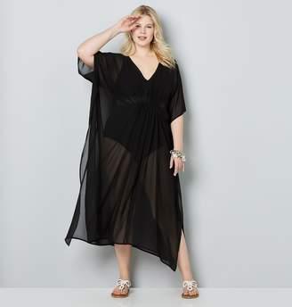 51adc825d256b Avenue Plus Size Sheer Black Caftan Swim Cover-Up