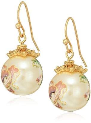 1928 Jewelry Womens Gold Tone Floral Pearl Decal Wire Drop Earrings