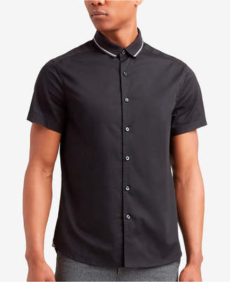 Kenneth Cole Men's Ribbed-Collar Shirt