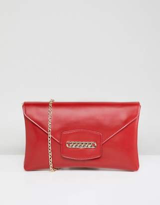 Asos DESIGN envelope clutch bag with chain detail and detachable strap