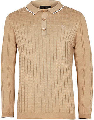 River Island Boys light brown grid long sleeve polo shirt