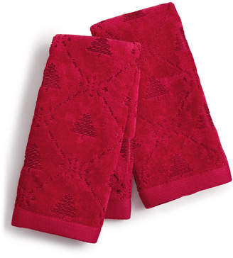Martha Stewart Collection Snow Tree Cotton 2-Pc. Fingertip Towel Set