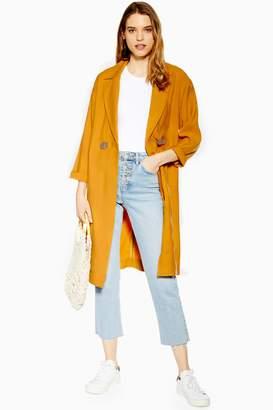 Topshop Mustard Duster Coat with Linen