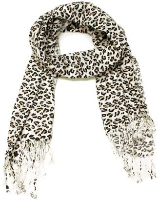 DXG Women's Leopard Print Design Scarves Wrap Soft Shawl Fashion Fringe
