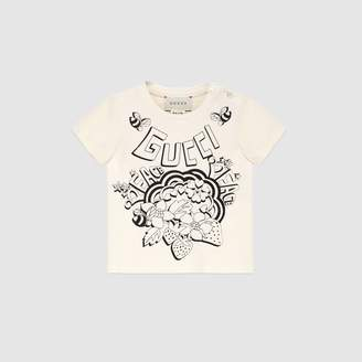 "Gucci Baby T-shirt with Peace"" print"
