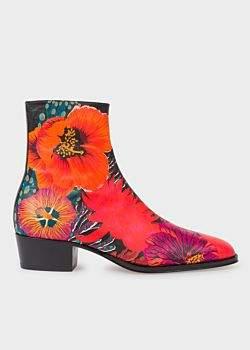 Paul Smith Men's Red 'Ocean' Print 'Mapleton' Boots