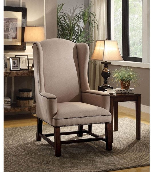 AcmeAcme Wells Beige Upholstered Accent Chair