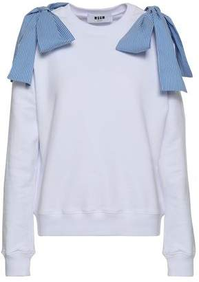 MSGM Bow-embellished French Cotton-terry Sweatshirt