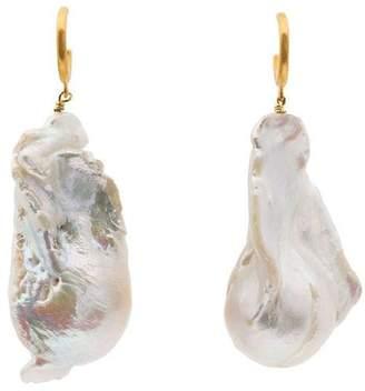 Anni Lu gold plated silver baroque pearl hoop earrings