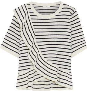 Joie Jayni B Ruffled Striped Wool And Cashmere-blend Top