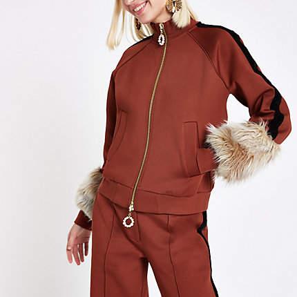 Womens RI Studio rust faux fur cuff tracksuit jacket
