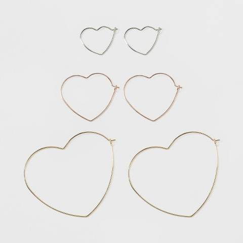Three Piece Multipack with Wired Heart Hoops Earring Set