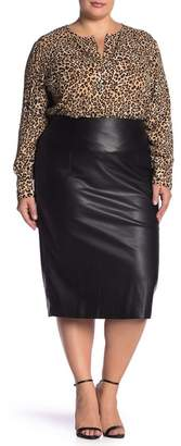 Catherine Malandrino Faux Leather Midi Skirt (Plus Size)