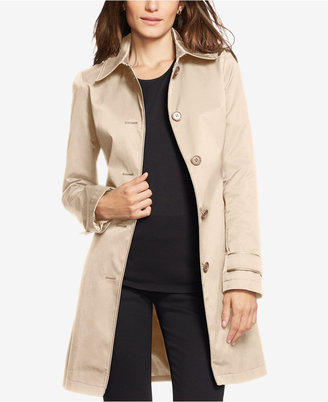 Lauren Ralph Lauren Faux-Leather-Trim Trench Coat $190 thestylecure.com