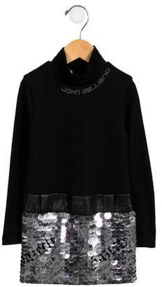 John Galliano Girls' Vegan Leather-Accented Sequined Dress