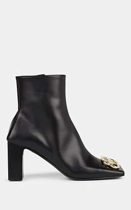 Balenciaga Women's BB-Logo Leather Ankle Boots - Black