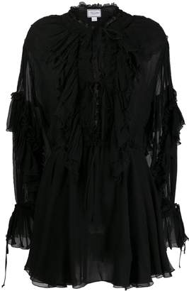 Redemption sheer ruffle flare dress