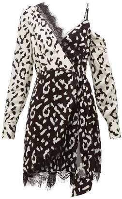 Self-Portrait Self Portrait Leopard Print Asymmetric Satin Mini Dress - Womens - Black White