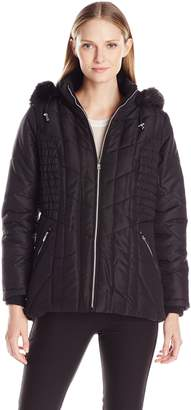 Details Women's Puffer Coat with Braided Rouched Side