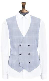 Mens Blue Tailored Fit Prince Of Wales Large Checked Waistcoat