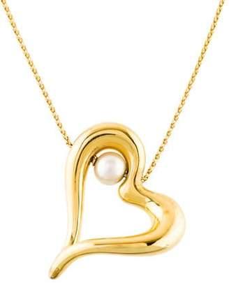 18K Pearl Heart Pendant Necklace