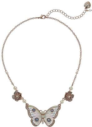Betsey Johnson White Flower and Butterfly Pendant Necklace Necklace