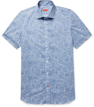 Isaia Slim-Fit Printed Cotton-Poplin Shirt