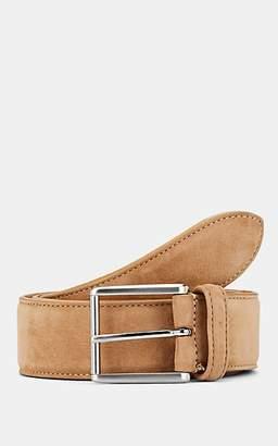 Barneys New York Men's Nubuck Leather Belt - Lt. brown