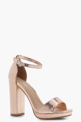 boohoo Wide Fit Snake Metallic Platform Heels