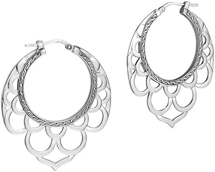 John Hardy Naga Medium Silver Lace Hoop Earrings
