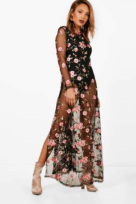 boohoo Embroidered Mesh Long Sleeve Maxi Dress