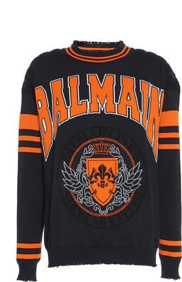 Balmain Coin Logo Jacquard-Knit Sweater