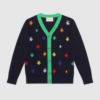 Gucci Children's bees and stars jacquard merino cardigan