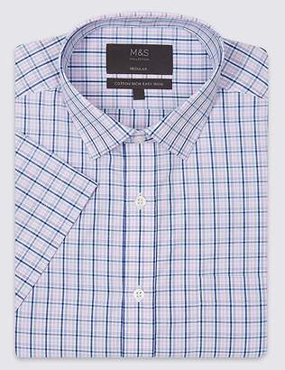 Marks and Spencer Cotton Rich Short Sleeve Regular Fit Shirt