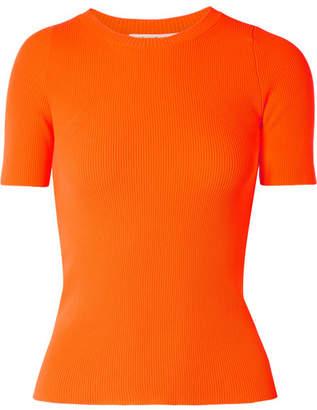 Helmut Lang Ribbed-knit Top - Bright orange