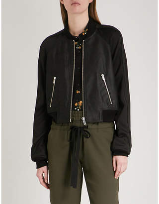 The Kooples Cropped leather and crepe bomber jacket