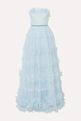 Marchesa Strapless Appliquéd Velvet-trimmed Tulle Gown - Light blue