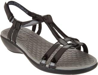 Clarks Patent T-Strap Sandals - Sonar Aster