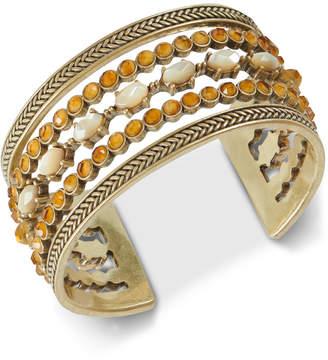 Lucky Brand Gold-Tone Citrine Bead Statement Cuff Bracelet